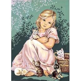 Canevas 45/60 antique fillette au chat - 150