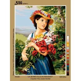 Canevas 45/60 antique la jeune fille au bouquet - 150