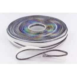 Passepoil 10mm blanc/lurex métal noir - 158
