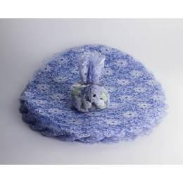 tulle rond dentelle diamètre 25 cm x 50p bleu - 159
