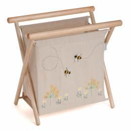 Porte ouvrage bois et lin abeille 22x36x36cm - 165
