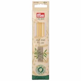 Aiguilles à tricoter 2 pointes bambou 15 cm n°4 - 17