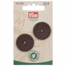 Boutons coton recyclé à trous 25mm brun - 17