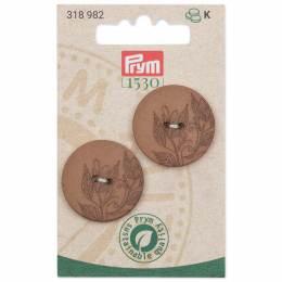 Boutons chanvre recyclé à trous 28 mm brun - 17