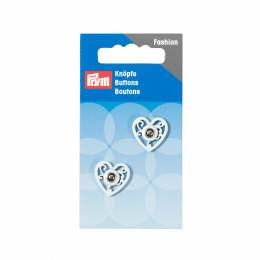 Boutons pression coudre metal coeur 18 mm blanc - 17