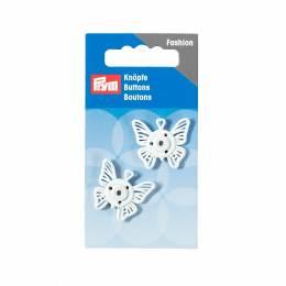 Boutons pression coudre metal papillon 25 mm blanc - 17