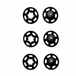 Bouton pression 7mm plastique noir rond - 17