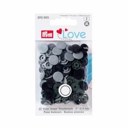 Prym love boutons pression plastique gris 12 mm - 17