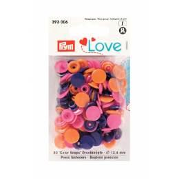 Prym love bout. press. plast. 12,4mm orange/fuchsi - 17