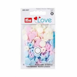 Prym love bout. press. plast. 12,4mm rose/bleu cla - 17