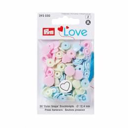 Prym love boutons press. coeur 12,4mm rose/vert/bl - 17