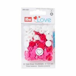 Prym love boutons press. coeur 12,4mm rouge/blanc/ - 17
