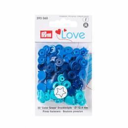 Prym love boutons press. etoile 12,4mm bleu/turquo - 17