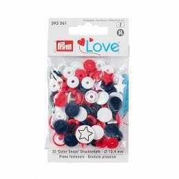 Prym love boutons press. etoile 12,4mm rouge/blanc - 17