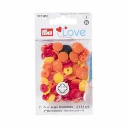Prym love boutons press. fleur 13,6 mm jaune/rouge - 17