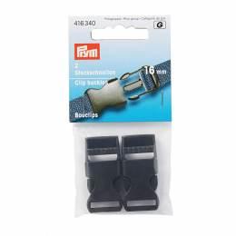 Boucles salopette 16mm résine plastique noir - 17