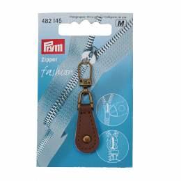 Tirette fashion - zip cuir brun - 17