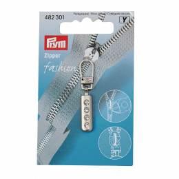 Tirette fashion-zip strass argent mat - 17