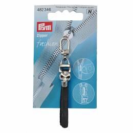 Tirette fashion-zipper crâne noir/argent 1pce - 17