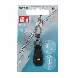 Tirette fashion-zipper imitation cuir noir rond - 17