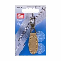 Tirette fashion-zipper imitation cuir ovale beige  - 17