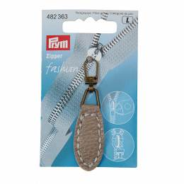 Tirette fashion-zipper imitation cuir ovale taupe  - 17
