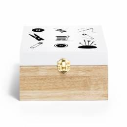 Boîte de rangement bois motif coudre - 17