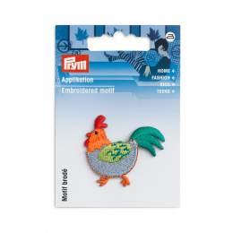 Motif déc. poule bleu/orange - 17
