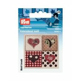 Motif br. exclusif handmade label coeurs brun/beig - 17