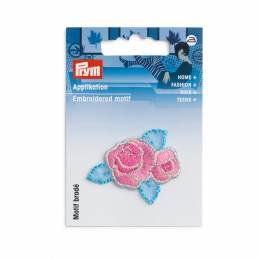 Motif déc. fleur fuchsia/bleu - 17