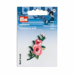 Motif déc. vrille fleurs fuchs/rose/vert - 17