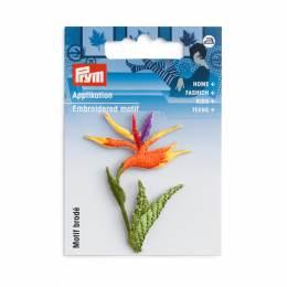 Motif déc. fleur strelitzia orange/vert - 17