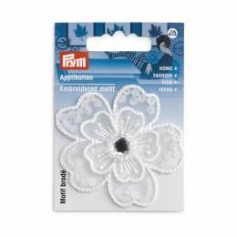 Mot. déc. fleur festive blanc avec perles - 17