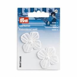 Mot. déc. fleur festive blanc petit - 17