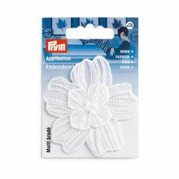 Mot. déc. fleur festive blanc brill. - 17