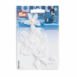 Mot. déc.vrille de fleurs festive blanc - 17