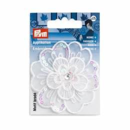 Mot. déc. fleur festive blanc paillettes - 17