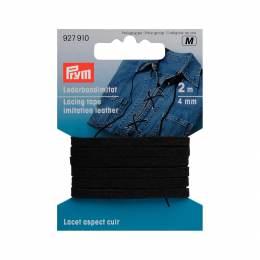 Lacet aspect cuir 4mm noir 2m - 17