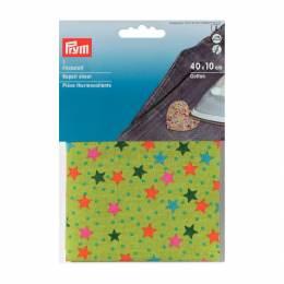 Pièce thermo coton fond vert etoile 40x10cm - 17