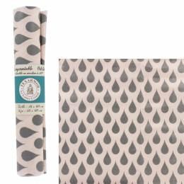 Coupon de toile enduite goutte grise fond rose - 187