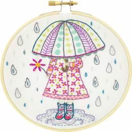 Emilie aime la pluie - kit broderie - 215