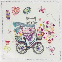 La vie est belle à bicyclette- poche kit broderie - 215
