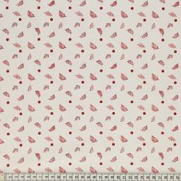Tissu Mez Fabrics leaves and berries red - 22