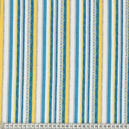 Tissu Mez Fabrics triangle and stripe teal - 22