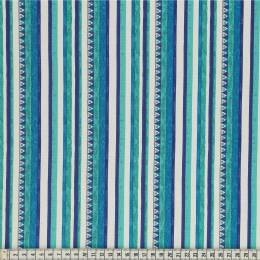 Tissu Mez Fabrics triangle and stripes blue - 22