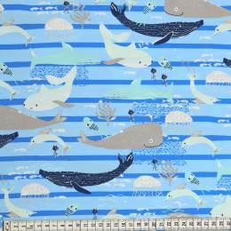 Tissu Mez Fabrics jersey beach days sea life blue - 22