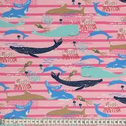 Tissu Mez Fabrics jersey beach days sea life pink - 22