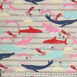 Tissu Mez Fabrics jersey beach days sea life grey - 22