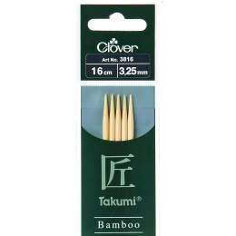 Aiguille tricot 2 pt bambou 16cm 3.25mm - 256