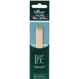 Aiguille tricot 2 pt bambou 20cm 2.75mm - 256